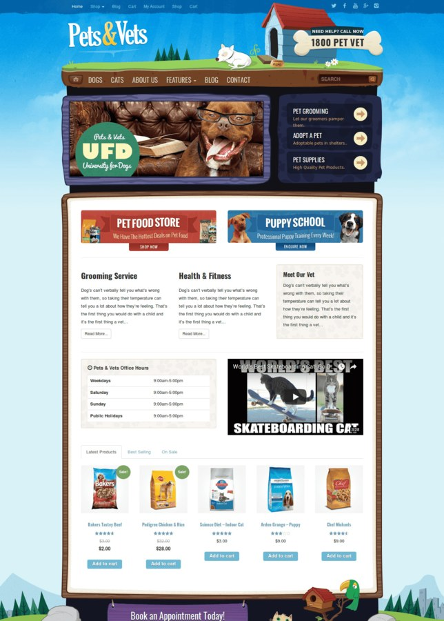 Pet & Vets - WooCommerce Theme Veterinarians & Pet Supplies - Cartoon &  vintage